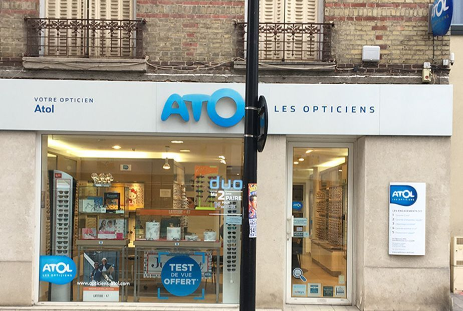 photo de la devanture du magasin d'optique Atol rue jean jaurès à sartrouville